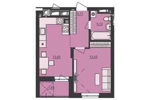 ЖК Семицвет: планировка 1-комнатной квартиры 38.01 м²