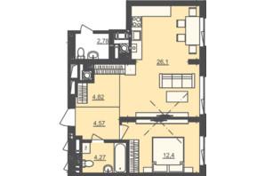 ЖК Семицвіт: планування 1-кімнатної квартири 52.16 м²