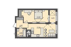 ЖК Семицвіт: планування 1-кімнатної квартири 48.56 м²