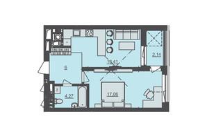 ЖК Семицвіт: планування 1-кімнатної квартири 46.22 м²