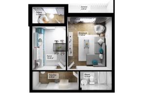 ЖК Сенатор: планування 1-кімнатної квартири 44.6 м²