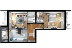 ЖК Сенатор: планування 2-кімнатної квартири 71.1 м²