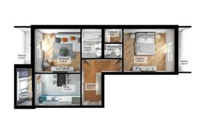 ЖК Сенатор: планування 1-кімнатної квартири 45.8 м²