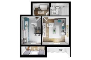 ЖК Сенатор: планировка 1-комнатной квартиры 42.2 м²