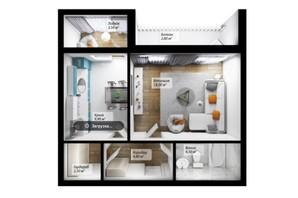 ЖК Сенатор: планировка 1-комнатной квартиры 45.8 м²
