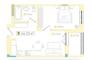 ЖК Серебряный дом Комфорт: планировка 1-комнатной квартиры 44.08 м²