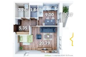 ЖК Северний: планування 1-кімнатної квартири 42.68 м²