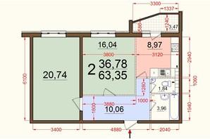 ЖК Северный: планировка 2-комнатной квартиры 63 м²