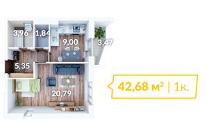 ЖК Северный: планировка 1-комнатной квартиры 43 м²