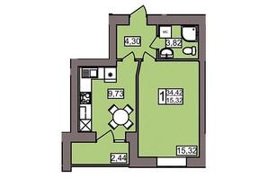 ЖК Северный: планировка 1-комнатной квартиры 34.42 м²