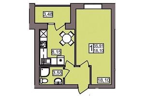 ЖК Северный: планировка 1-комнатной квартиры 37.2 м²