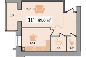 ЖК Щасливий: планування 1-кімнатної квартири 49.6 м²