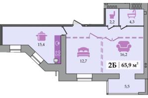 ЖК Щасливий: планування 2-кімнатної квартири 65.9 м²