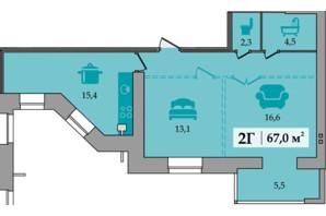 ЖК Щасливий: планування 2-кімнатної квартири 67 м²
