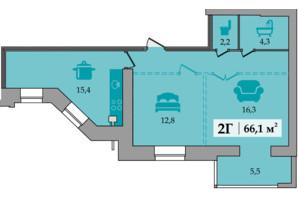 ЖК Щасливий: планування 2-кімнатної квартири 66.1 м²