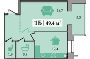 ЖК Щасливий: планування 1-кімнатної квартири 49.4 м²