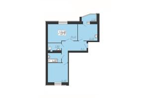 ЖК Щасливий: планування 2-кімнатної квартири 67.9 м²