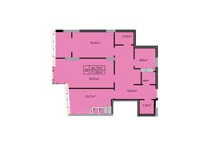 ЖК Щасливий: планування 2-кімнатної квартири 72 м²