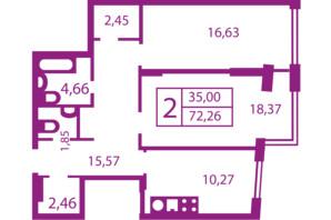 ЖК Щасливий: планування 2-кімнатної квартири 72.26 м²