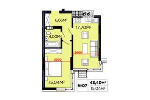 ЖК Щасливий: планування 1-кімнатної квартири 43.04 м²