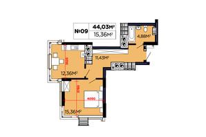 ЖК Щасливий: планування 1-кімнатної квартири 44.03 м²
