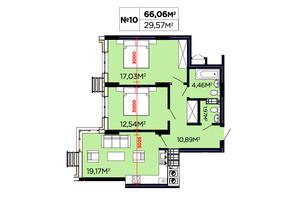 ЖК Щасливий: планування 2-кімнатної квартири 66.06 м²