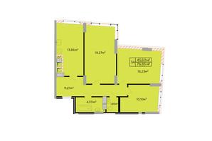 ЖК Щасливий: планировка 3-комнатной квартиры 77 м²