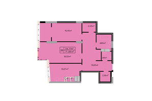 ЖК Щасливий: планировка 2-комнатной квартиры 72 м²