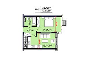 ЖК Щасливий: планировка 1-комнатной квартиры 38.72 м²
