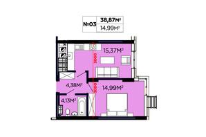 ЖК Щасливий: планировка 1-комнатной квартиры 38.87 м²