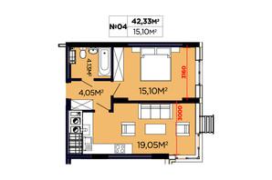 ЖК Щасливий: планировка 1-комнатной квартиры 42.33 м²