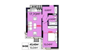 ЖК Щасливий: планировка 1-комнатной квартиры 43.4 м²