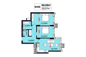 ЖК Щасливий: планировка 2-комнатной квартиры 66.06 м²