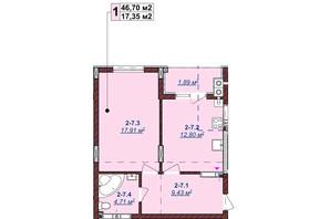 ЖК Щасливий: планировка 1-комнатной квартиры 46.7 м²