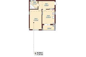 ЖК Щасливий: планировка 1-комнатной квартиры 46.9 м²