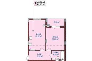 ЖК Щасливий: планировка 1-комнатной квартиры 48 м²