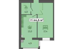 ЖК Щасливий у Дніпрі: планування 1-кімнатної квартири 44.6 м²