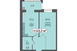 ЖК Щасливий у Дніпрі: планування 1-кімнатної квартири 43.3 м²