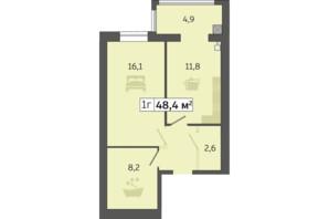 ЖК Щасливий у Дніпрі: планування 1-кімнатної квартири 48.4 м²