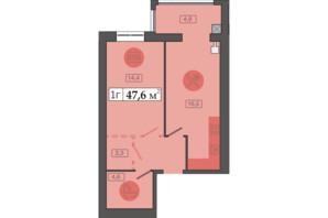 ЖК Щасливий у Дніпрі: планування 1-кімнатної квартири 47.6 м²