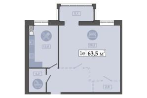 ЖК Щасливий у Дніпрі: планування 1-кімнатної квартири 63.5 м²