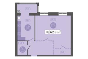 ЖК Щасливий у Дніпрі: планування 1-кімнатної квартири 62.8 м²