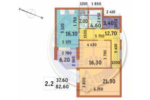 ЖК Шевченковский: планировка 2-комнатной квартиры 82.6 м²