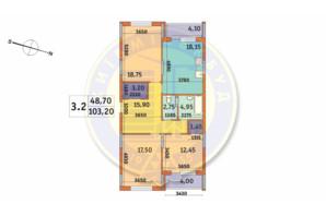 ЖК Шевченковский: планировка 3-комнатной квартиры 103.2 м²