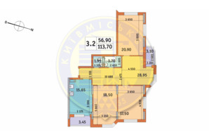 ЖК Шевченковский: планировка 3-комнатной квартиры 113.7 м²