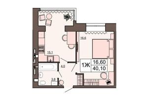 ЖК Шоколад: планировка 1-комнатной квартиры 40.1 м²