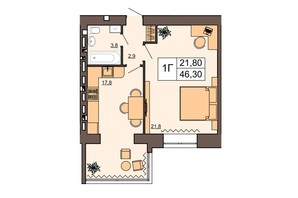 ЖК Шоколад: планировка 1-комнатной квартиры 46.3 м²