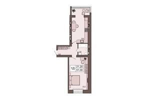 ЖК Шоколад: планировка 1-комнатной квартиры 51 м²