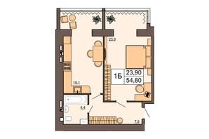 ЖК Шоколад: планировка 1-комнатной квартиры 54.8 м²