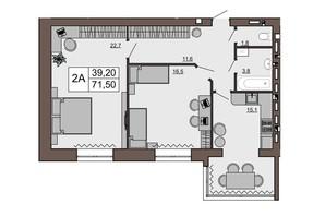 ЖК Шоколад: планировка 2-комнатной квартиры 71.5 м²